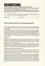 Was bringt 1976 der Galvanotechnik?