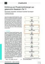 Entfernung von Phosphorverbindungen aus galvanischen Abwässern (Teil 1)