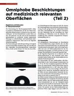 Omniphobe Beschichtungen auf medizinisch relevanten Oberflächen (Teil 2)