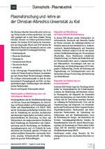 Plasmaforschung und -lehre ander Christian-Albrechts-Universität zu Kiel
