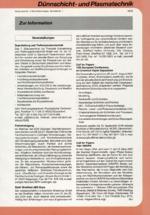 Zur Info - Dünnschicht- und Plasmatechnik 07/2000