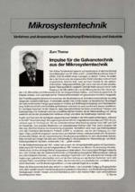 Impulse für die Galvanotechnik aus der Mikrosystemtechnik