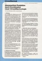 Abwasserfreie Produktion durch Kombination neuer Umwelttechnologie