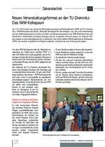 Neues Veranstaltungsformat an der TU Chemnitz: Das IWW-Kolloquium