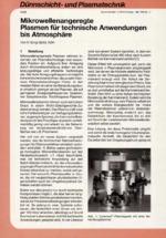Mikrowellenangeregte Plasmen für technische Anwendungen bis Atmosphäre