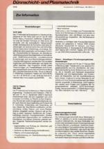 Zur Info - Dünnschicht- und Plasmatechnik 12/1999