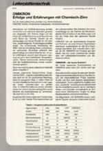 OMIKRON Erfolge und Erfahrungen mit Chemisch-Zinn