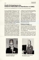 Zweite Vortragstagung desInstitut für Werkstoffe und Oberflächen e.V. (lWO)