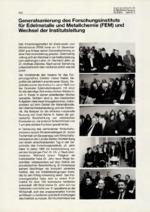 Generalsanierung des Forschungsinstituts für Edelmetalle und Metallchemie (FEM) und Wechsel der Institutsleitung