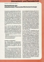 Herbstsitzung des Arbeitskreises Plasmaoberflächentechnologie  Die Herbstsitzung des Arbeitskreises