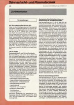 Zur Info - Dünnschicht- und Plasmatechnik 02/2001