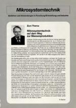Mikrosystemtechnik auf dem Weg zur Massenproduktion
