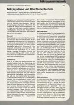 Mikrosysteme und Oberflächentechnik