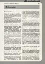 Zur Info - Mikrosystemtechnik 02/2001