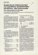 Vergleichende Untersuchungen  von cyanidfreien Zinkelektrolyten mit Natrium - oder Kaliumzusatz